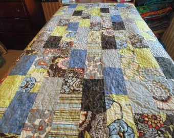 Colorful Large Lap or Twin Sized Contemporary Quilt