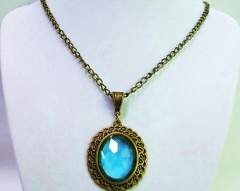 Oval Bronze w/Teal Faceted Glass Pendant Necklace