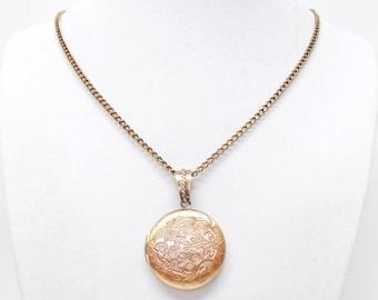 Vintage Antique Copper Round Flower Photo Locket Pendant Necklace