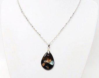 Small Fused Glass Tear Drop Pendant Necklace