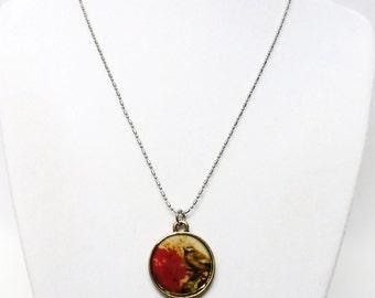 Antique Silver Encased Epoxy Charm w/Bird & Flower Pendant Necklace