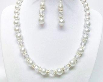 Silver Darice Glass Pearl w/Rondelle Crystal Rhinestone Bead Necklace & Earrings Set