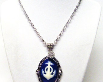 Blue and White Oval Anchor Motif Pendant Necklace