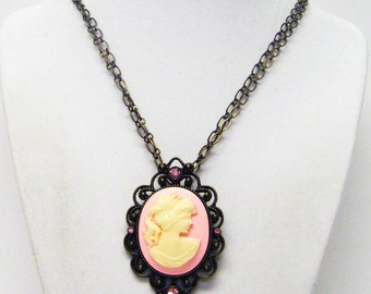 Pink Cameo on Antique Bronze Pendant Necklace