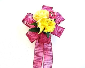 Pink and yellow birthday gift bow, Special Occasion bow, Gift wrap bow, Large gift bow, Floral gift bow, Summer party decoration, (HB68)