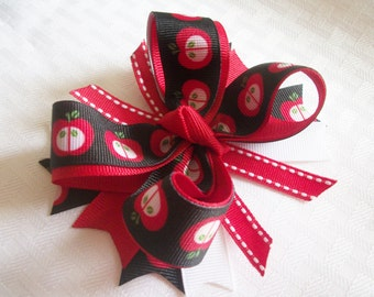 Apple Girls Hair bow Red Black Back to School Bows Twisted Boutique Bow Red Apple Hair bows for Girls Hair Clip Girl Back to School Hair bow