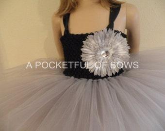 Flower Girl Tutu Dress Silver and Black,  Formal Toddler Dress, Long Tutu Dress