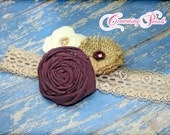 Plum, Burlap Ivory Headband, Eggplant Hair Accessory, Dark Purple, Tan Flower Hair Piece, Rustic Hair Clip Fabric Flower Brooch, Hair Bow