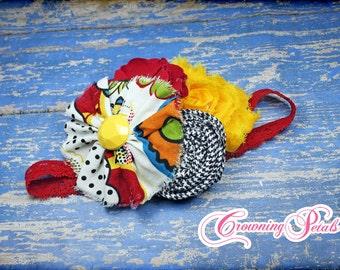 Red, Mustard Yellow, Black Headband, Hair Piece, Baby Hair Bow, Hair Accessory, Flower Hair Clip, Fabric Flower Brooch, Fabric Flowers, Baby