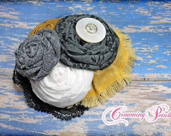 Mustard, Grey, White, Black Headband, Fabric Flower Brooch, Hair Accessories, Hair Bow, Gray Flower Hair Clip, Baby Headband, Fabric Flowers