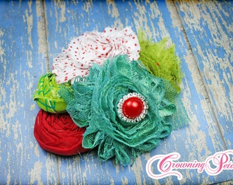 Red, Lime, White Headband, Flower Hair Accessory, Red Fabric Flowers, Baby Girl Hair Bow, Hair Piece, Baby Photo Prop