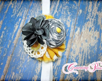 Mustard Yellow, Grey Headband, Fabric Flower Headband, Hair Accessories, Gray, Girls Headband, Newborn Hair Bow, Infant, Flower Hair Clip