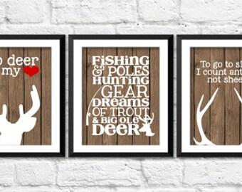 deer art prints, to go to sleep I count antlers not sheep, hunting fishing nursery decor, so deer to my heart art, antlers deer nursery art