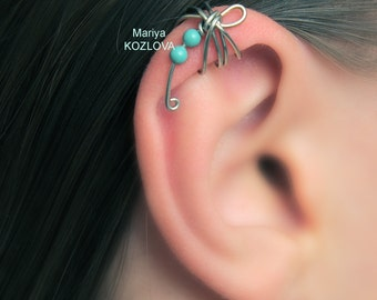 No pierce Cartilage Ear Cuff Mint Turquoise Dragonfly/helix earcuff manschette/false fake faux piercing/Ohrklemme ohrclip/piercing imitation