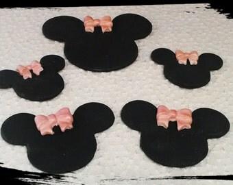 26 Edible gum paste Minnie Mouse gum paste/fondant cupcake toppers