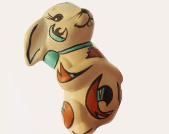 Cute Bunny, Ceramic, hand painted, Native American Designs