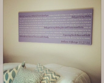 Over the Bed 20x40 Custom Canvas, Canvas Word Art, Favorite Song Lyrics on Canvas Wall Art, Romantic Gift Idea