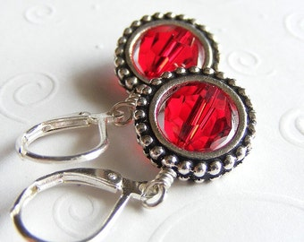 Siam Red Swarovski Crystal Earrings with Round Frames on Leverbacks. Passion. Love. Crimson. Steampunk.