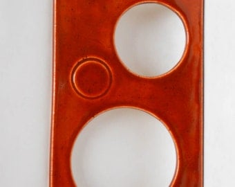 Peek-a-boo slim ceramic wall mirror in cinnamon spice