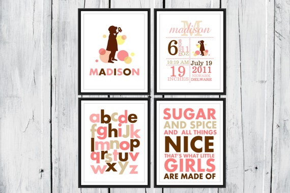 Sugar and Spice 4 Print Set Baby girl Nursery Decor Birth Announcement Wall Art Prints