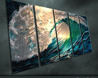 "Original Special Metal Art Modern Abstract Special Painting Sculpture Indoor Outdoor Decor ""Wave"" by Ning"