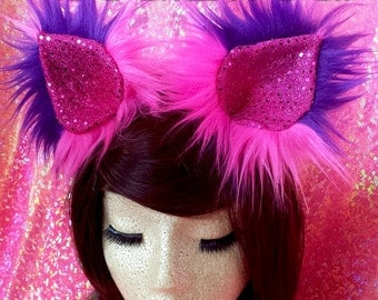 MADE TO ORDER Furry clip in Cheshire Cat inspired cat ears halloween costume cheshire cat costume