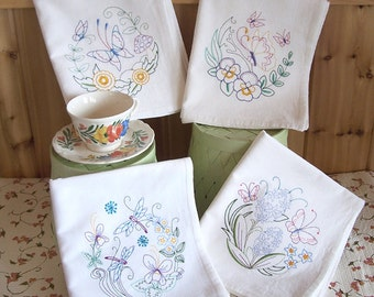 Embroidered Towel Set of Vintage Butterfly and Dragonfly in  Flower Circle
