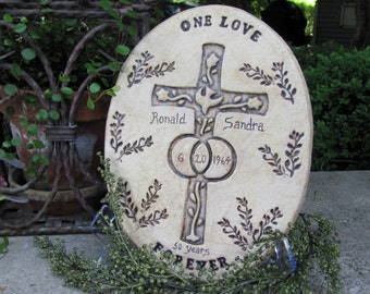 MADE TO ORDER Christian Wedding  or 25th/50th Anniversary Plaque Personalized with Inscription Parents 25th/50th