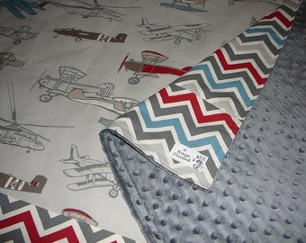Vintage Airplanes Crib Size Blanket