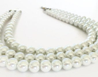 Chunky Pearl Necklace, Multi-strand Pearl Necklace, Pearl Statement Necklace, Chunky Pearl Statement Necklace, Three Strand Pearl Necklace