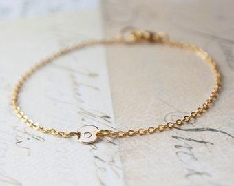 Tiny Gold Initial Charm Bracelet - Custom Monogram Bracelet - Bridesmaid Gifts