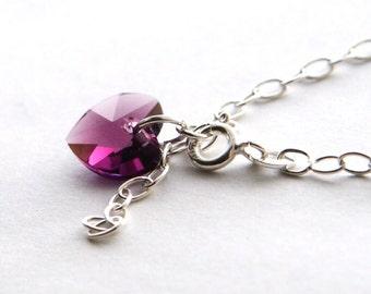February Birthstone Bracelet, Purple Swarovski Heart Bracelet, Simple Sterling Silver Bracelet, Amethyst Heart Bracelet