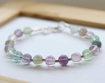 Rainbow Fluorite Bracelet, Rainbow Fluorite Bead Bracelet, Gemstone Bracelet, Spiritual Bracelet, Intuition Bracelet, Yoga Bracelet