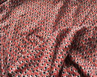 "SWATCH 3"" x 7"" BIG - Viscose Jersey Knit Fabric - Irregular Red Black White Checkers Print"