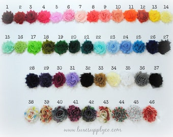 Petite Shabby Chiffon Flower Trim - Check stock in description - YOUR CHOICE of Color And Quantity - Chiffon Flower Trim by the 1/2 yard