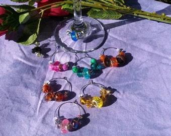 Wine Charms, Murano cut glass, 8 piece set, theme Crystal Rainbow