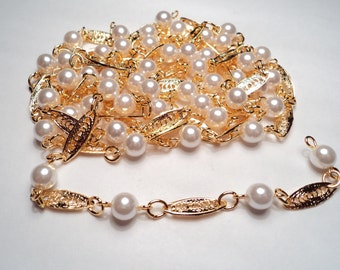 5  feet - Gold plated fancy Filigree station/faux pearl chain - m245