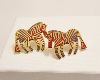 "Vintage Zebra Earrings By Laurel Burch ""Wild Zebra"""