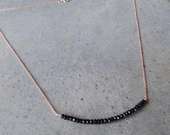 Black Spinel Rose Gold Necklace, Bar necklace, wedding gift, aunt gift, sister gift