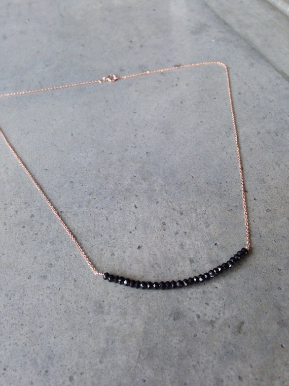 Black Spinel Rose Gold Necklace, Bar necklace, wedding gift, aunt gift, sister gift