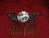 Tempus Fugit - Time Flies - Steampunk Hair Comb
