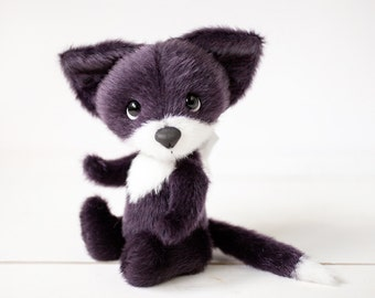 Teddy Bear PDF pattern - Black fox pattern - Artist bear PDF - Epattern download - Stuffed fox toy - Handmade gift