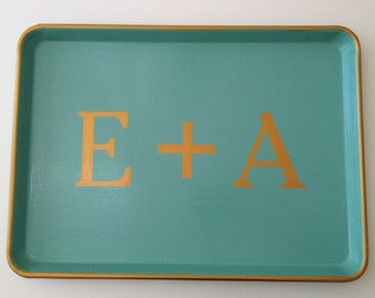 L gold 2 initial plus  turquoise tray