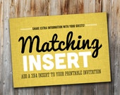 Coordinating Insert to Match Your Invitation, 3x4, Printable, Custom