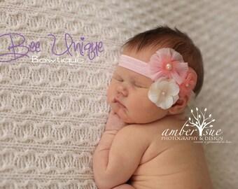 baby girls headband..vintage pink headband..girls vintage headband..newborn headbands..baby headbands..pink headband..pink vintage headband