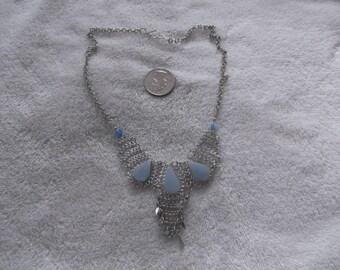Handcrafted Pendant/Necklace--ALPACA Silver-Blue Serpantine  -N541