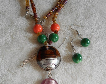 High Fashion Necklace-Earring Set-LAMP GLASS Beaded-DEMI-N1202