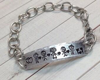 Personalized Bracelet,Mom Bracelet,Sisters Bracelets,ID Bracelet,Hand Stamped,Stainless Steel Link Bracelet