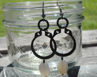 Smoke colored agate and industrial hardware earrings