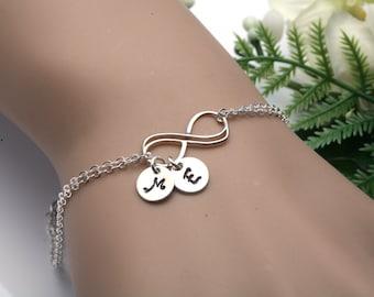 Infinity initial bracelet,double infinity bracelet,hand stamped initial,Couple monograms,custom font,sisterhood gift,friendship gift,wedding